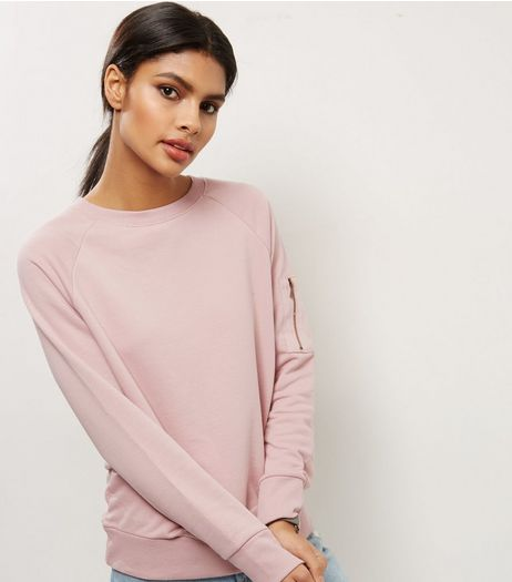 Shell Pink Zip Pocket Sleeve Sweater  | New Look