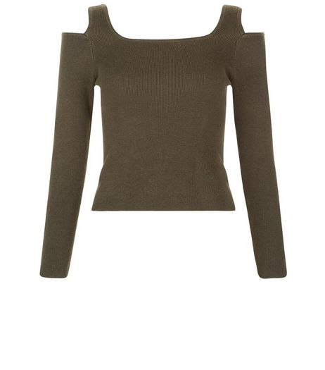 Teens Khaki Cold Shoulder Jumper | New Look