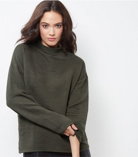 Khaki Ribbed Funnel Neck Sweater  | New Look