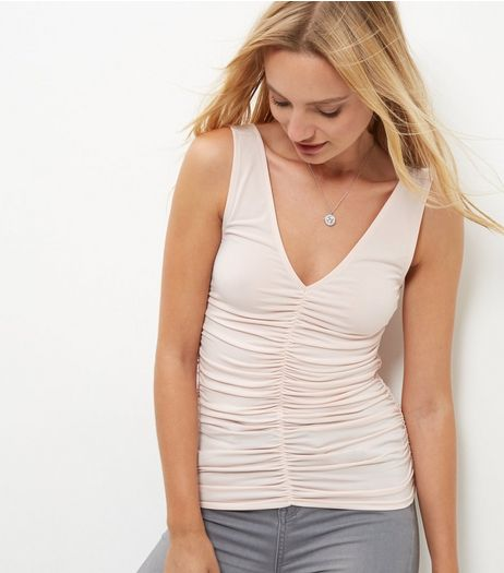 Pink Ruched Front V Neck Vest  | New Look