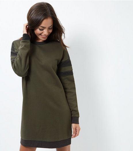 Khaki Colour Block Stripe Sleeve Sweater Dress | New Look
