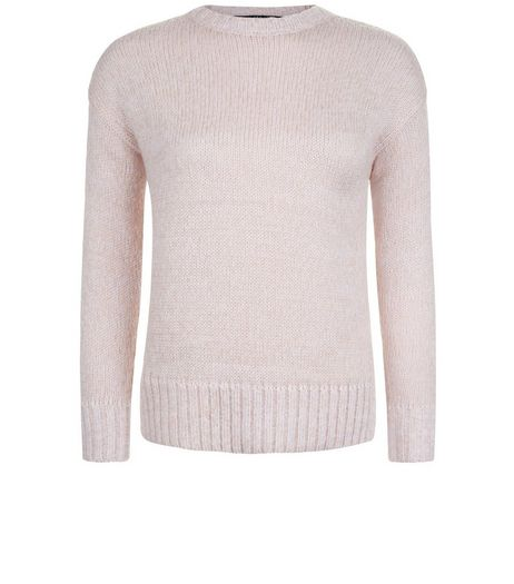 Teens Shell Pink Crew Neck Jumper | New Look