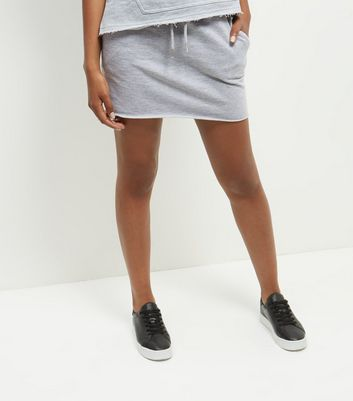 Grey Raw Hem Sweater Skirt