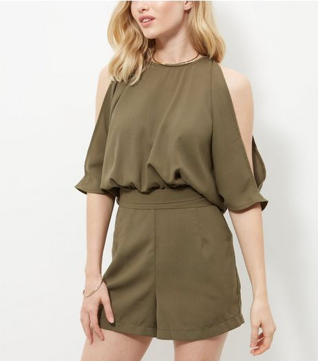 Cameo Rose Khaki Cold Shoulder Playsuit | New Look