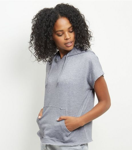 Grey Hooded Raw Hem Sweater Top  | New Look