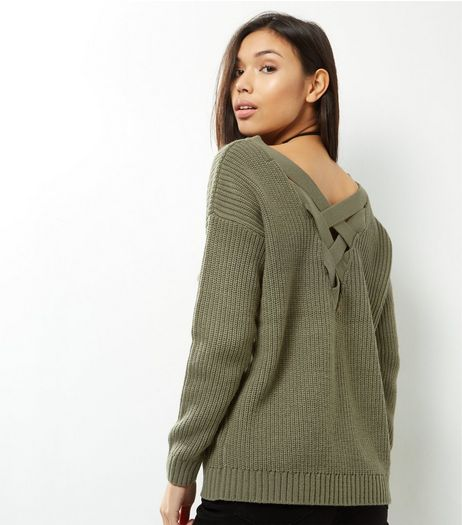 Khaki Cross Strap Back Jumper | New Look