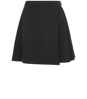 Product photo of Petite black pleated belted skirt