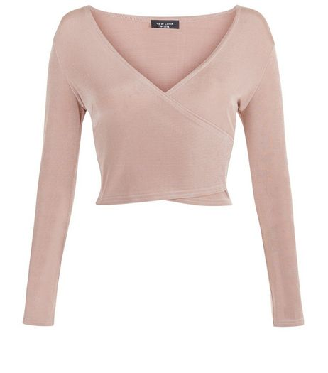 Petite Shell Pink Wrap Front Long Sleeve Crop Top  | New Look