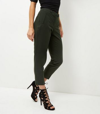 Khaki Cropped Slim Leg Trousers