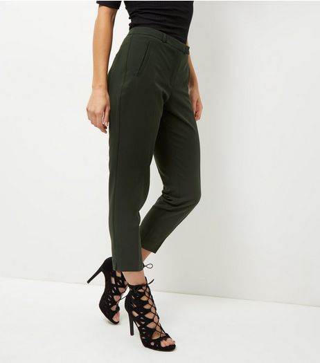 Khaki Cropped Slim Leg Trousers  | New Look