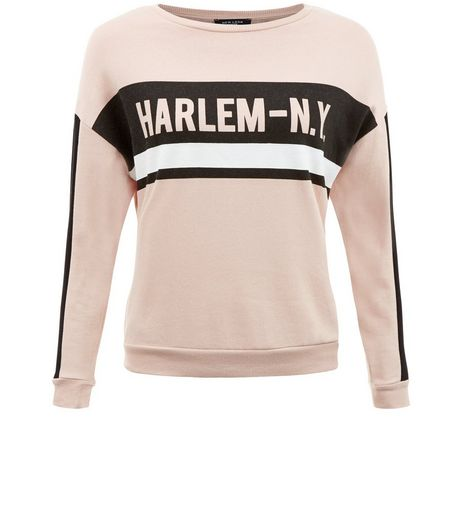 Shell Pink Harlem Print Sweater | New Look