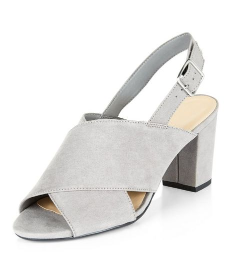 Teens Grey Suedette Sling Back Block Heels | New Look