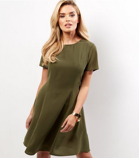Khaki Short Sleeve Swing Dress | New Look