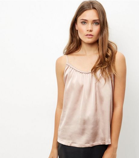 Cameo Rose Shell Pink Satin Rope Trim Cami | New Look