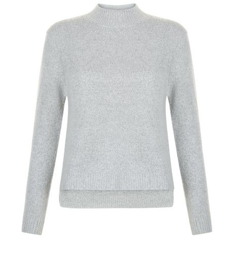 Teens Grey Dip Hem Funnel Neck Jumper | New Look