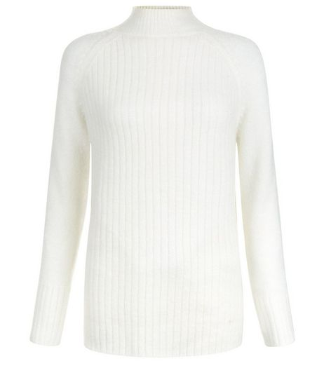 Teens Cream Fluffy Ribbed Funnel Neck Longline Jumper | New Look