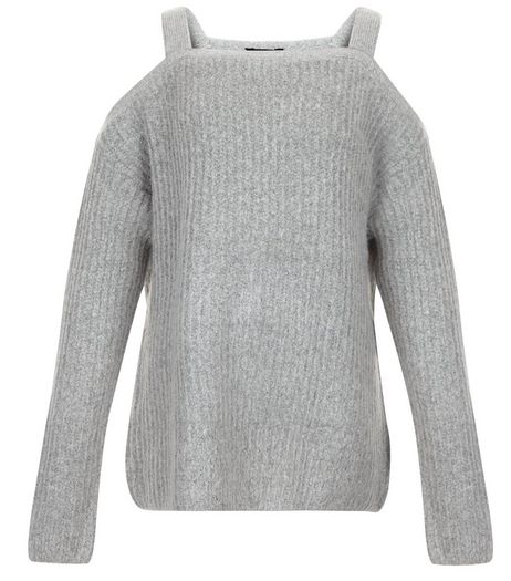 Teens Grey Ribbed Cold Shoulder Jumper | New Look
