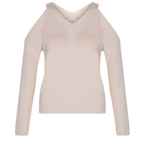 Teens Shell Pink V Neck Cold Shoulder Jumper | New Look
