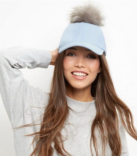 Blue Suedette Pom Pom Cap | New Look