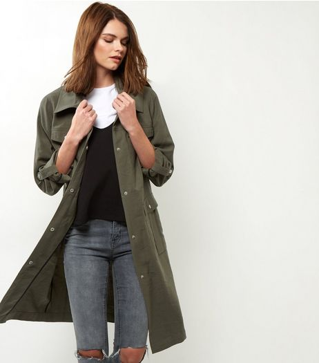 Khaki Pocket Front Longline Shacket  | New Look