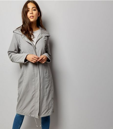 Grey Drawstring Hooded Duster Coat  | New Look