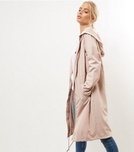 Shell Pink Drawstring Waist Longline Duster Coat  | New Look