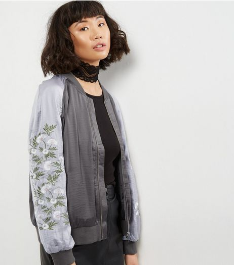 Light Grey Floral Embroidered Bomber Jacket  | New Look