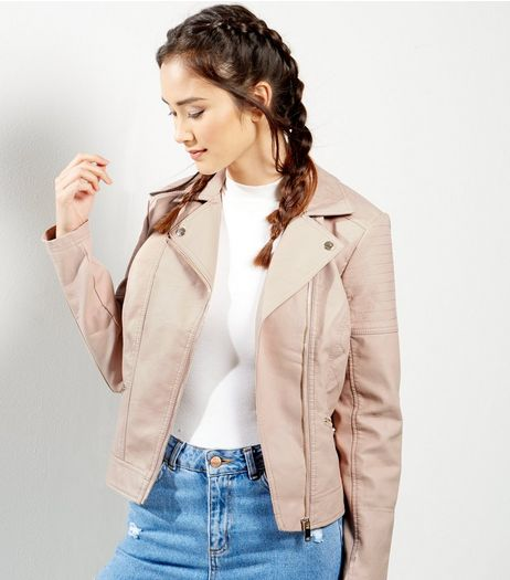 Pink Leather-Look Biker Jacket | New Look