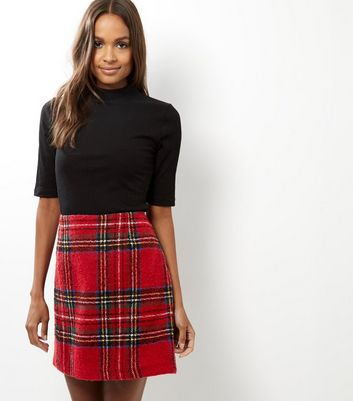 Product photo of Tall red check mini skirt