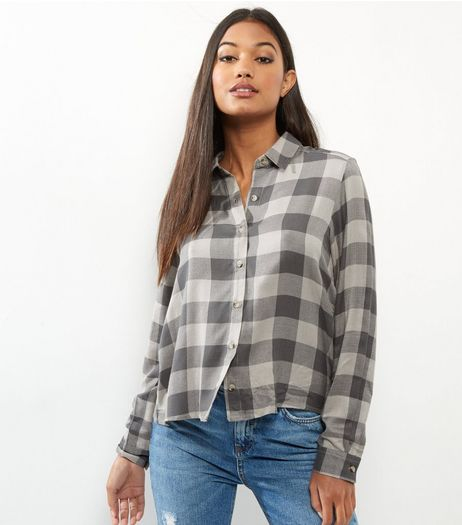 Grey Large Check Long Sleeve Shirt | New Look