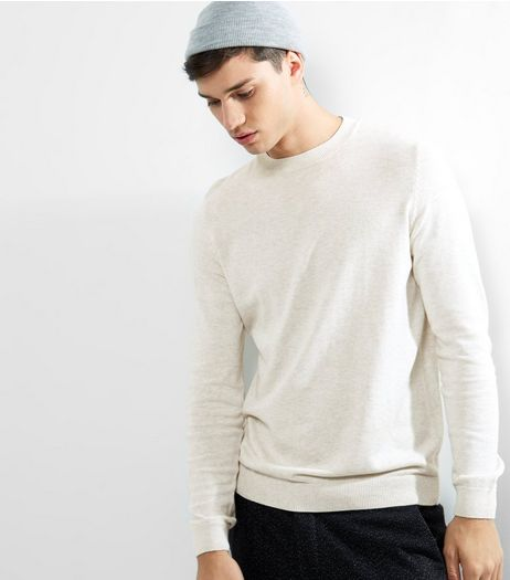 Oatmeal Cotton Crew Neck Jumper  | New Look