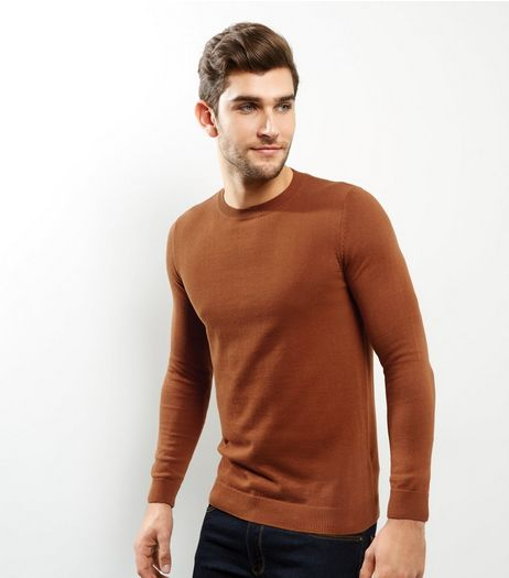 Tan Cotton Crew Neck Jumper | New Look