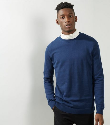 Navy Crew Neck Long Sleeve Sweater  | New Look
