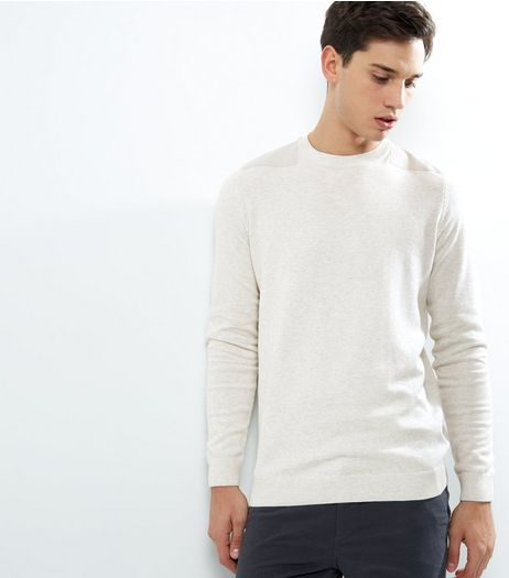 Cream Shoulder Patch Crew Neck Jumper | New Look