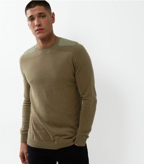 Light Brown Shoulder Patch Crew Neck Jumper  | New Look