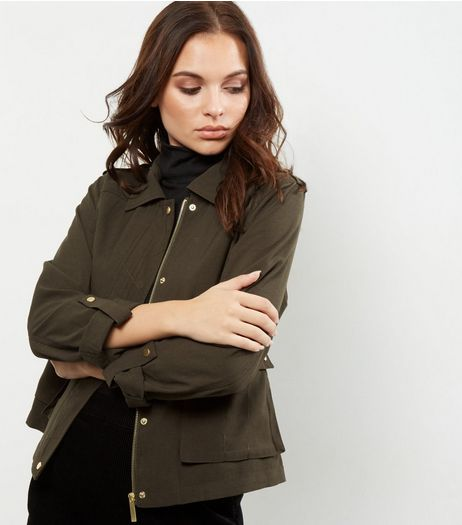 Khaki Utility Cropped Shacket  | New Look