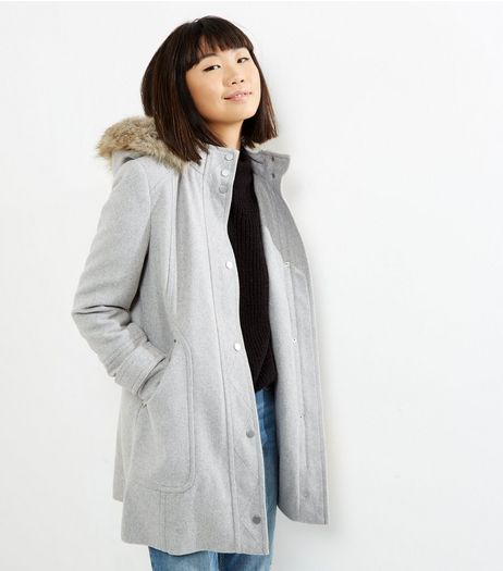 Grey Borg Lined Hooded Duffle Jacket  | New Look