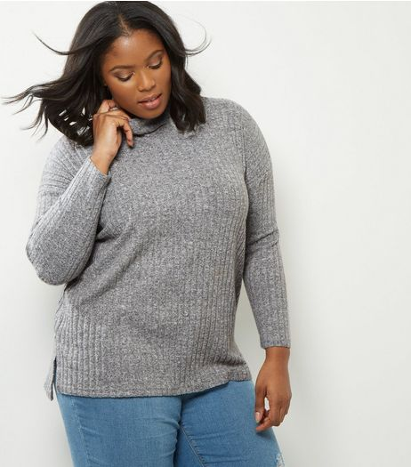 Curves Grey Ribbed Funnel Neck Step Hem Jumper | New Look