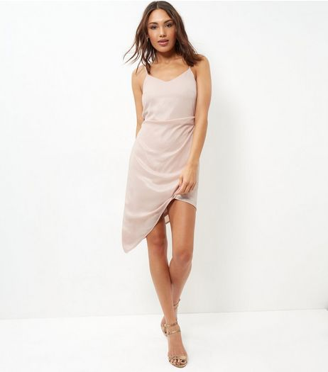 Parisian Shell Pink Shimmer Wrap Front Dress | New Look