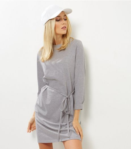 Grey Seam Trim Tie Waist Tunic Dress | New Look