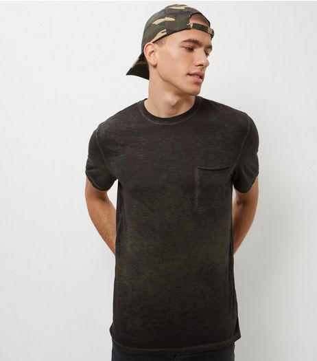 Khaki Burnout Wash Single Pocket T-Shirt  | New Look