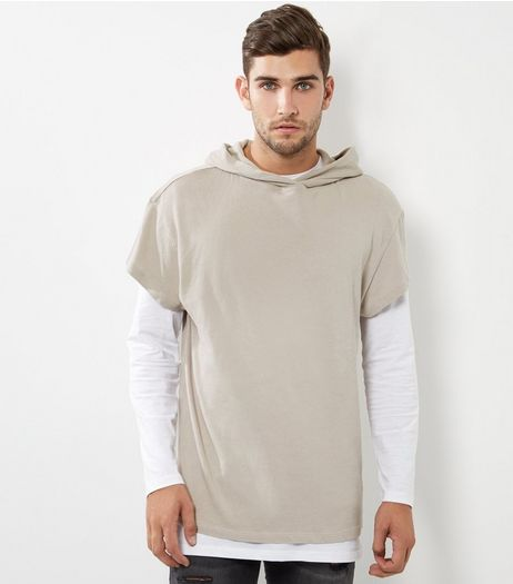 Stone Cotton Short Sleeve Hoodie  | New Look