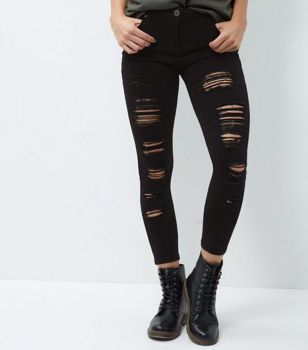 Parisian Black Extreme Ripped Skinny Jeans