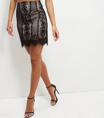 Gonna  donna Parisian Black Contrast Lace Scallop Hem Skirt