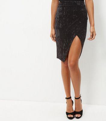 Parisian Black Velvet Wrap Front Pencil Skirt