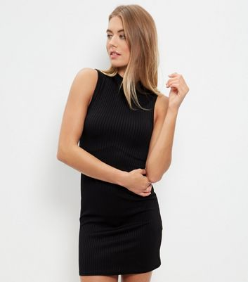Black Ribbed Funnel Neck Sleeveless Mini Dress