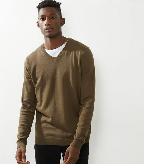 Brown Cotton V Neck Jumper | New Look
