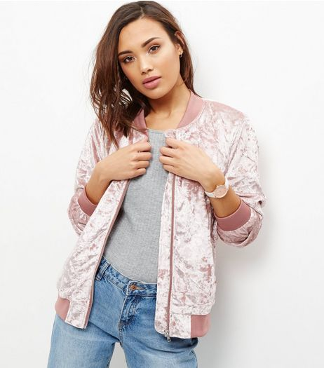 Pink Crushed Velvet Bomber Jacket  | New Look