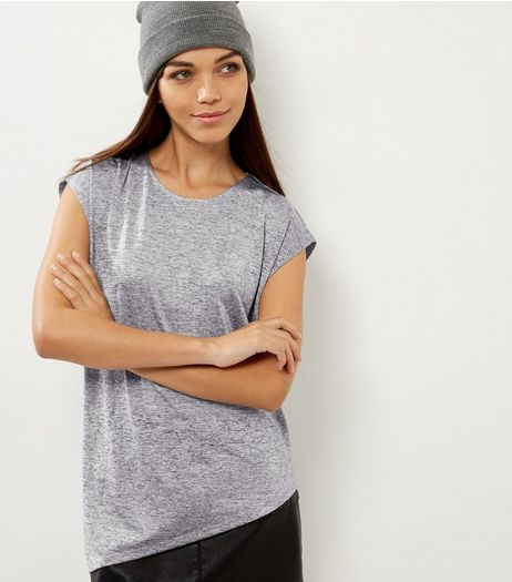 Grey Metallic Asymmetric Hem T-Shirt  | New Look