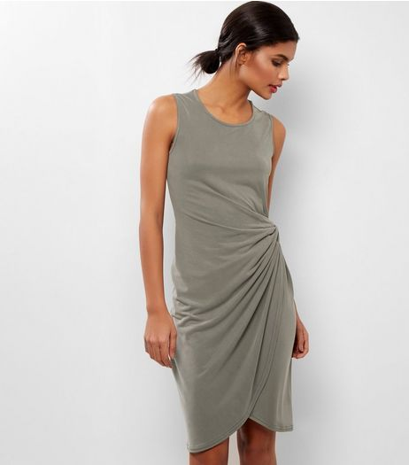 Khaki Knot Side Midi Dress | New Look